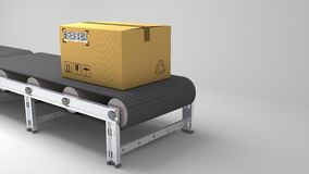 Packages delivery, packaging service and parcels transportation system concept, cardboard boxes on conveyor belt in warehouse, 3d Royalty Free Stock Image