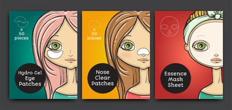 Packages design, cartoon beauty woman. Vector illustration Stock Photography