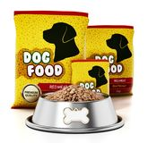 Packages and dog food in steel bowl. 3D illustration.  vector illustration