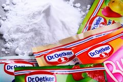 Packages of Dr. Oetker products. POZNAN, POL - SEP 28, 2018: Packages of Dr. Oetker products, a German multinational company owned by the Oetker Group stock images