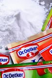 Packages of Dr. Oetker products. POZNAN, POL - SEP 28, 2018: Packages of Dr. Oetker products, a German multinational company owned by the Oetker Group royalty free stock images