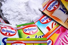 Packages of Dr. Oetker products. POZNAN, POL - SEP 28, 2018: Packages of Dr. Oetker products, a German multinational company owned by the Oetker Group stock photo