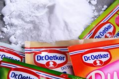 Packages of Dr. Oetker products. POZNAN, POL - SEP 28, 2018: Packages of Dr. Oetker products, a German multinational company owned by the Oetker Group royalty free stock photos