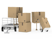 Packages figure unload trolley Stock Photos