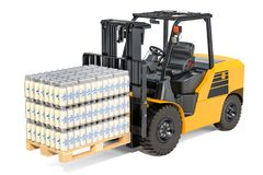 Packages of glass milk bottles in shrink film on the forklift tr. Uck, 3D rendering isolated on white background Stock Images