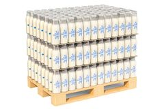 Packages of glass milk bottles in shrink film on the wooden pall. Et, 3D rendering isolated on white background Royalty Free Stock Photo