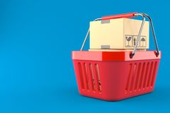 Packages inside shopping basket. Isolated on blue background. 3d illustration Royalty Free Stock Images