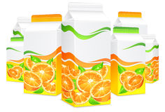Packages for orange juice. Packages for juice, paper packing with oranges and leaves, vector illustration Stock Photo