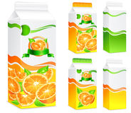 Packages for orange juice. Packages for juice, paper packing with oranges and leaves, vector illustration Stock Photography