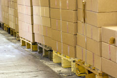 Packages on the pallets Royalty Free Stock Photography