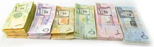 Packages paper currency in one line from the side Stock Photo