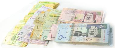 Packages paper currency over each other Stock Image