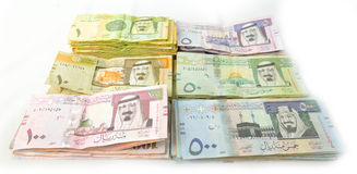 Packages paper currency of Saudi Arabia Stock Photography