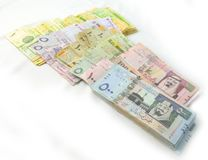 Packages paper currency from upper side Stock Photos
