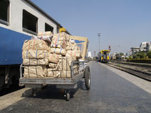 Packages at a railway station Royalty Free Stock Photos