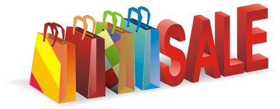 Packages from shop with sale Stock Images