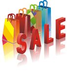Packages from shop with sale Stock Photography