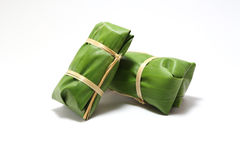 Packaging from banana leaves. For bananas with sticky rice dessert for Thai food Royalty Free Stock Images