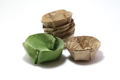 Packaging from banana leaves. For pudding with coconut topping dessert  for Thai food Stock Images