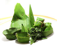 Packaging from banana leaves. To dessert Royalty Free Stock Image