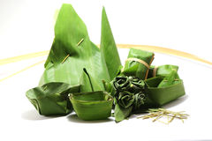 Packaging from banana leaves. To dessert Stock Photography