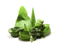 Packaging from banana leaves. To dessert Royalty Free Stock Photos