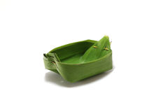 Packaging from banana leaves. To Toddy Palm Cake dessert for Thai food Stock Photo