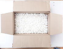 Packaging box filled with styrofoam pellets Stock Photo