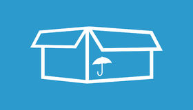 Packaging box icon with umbrella symbol. Shipping pack simple ve Stock Photo