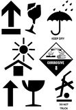 Packaging box symbols. International packaging symbols commonly found on boxes and cartons Stock Illustration