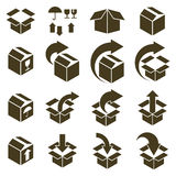 Packaging boxes icons isolated on white background vector set, p Stock Photos