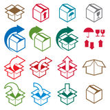 Packaging boxes icons isolated on white background vector set, p Royalty Free Stock Photos
