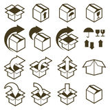 Packaging boxes icons isolated on white background vector set, p Royalty Free Stock Photography