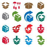Packaging boxes icons vector set, delivery theme Royalty Free Stock Images