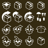 Packaging boxes icons vector set, pack simplistic symbols vector Royalty Free Stock Photos