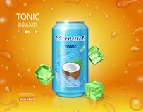 Packaging with coconut water drink. Realistic tonic advertising vector Royalty Free Stock Image