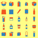 Packaging color icons on yellow background Stock Photo