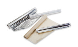 Packaging and cooking materials for household use Stock Images