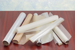 Packaging and cooking materials for household use Stock Image