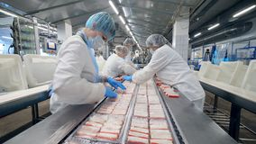 Packaging of crabs sticks carried out by female plant staff