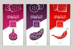 Packaging design snack food. Vector set of templates packaging design snack food, label, banner, poster, identity, branding. Background with sketch hand drawn Stock Images
