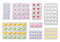 Packaging for drugs ,painkillers, antibiotics, vitamins and aspirin tablets. Set of blisters icons with pills and Royalty Free Stock Images