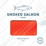 Packaging for fish. Packaging design template for smoked salmon. Fish package. Vector Royalty Free Stock Photo
