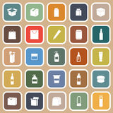Packaging flat icons on brown background Stock Photos