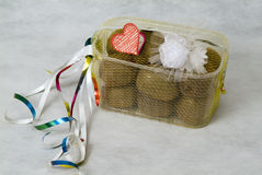Packaging of fruits and wedding attributes on a wh Royalty Free Stock Images