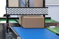Packaging handling. Packaging and handling goods at conveyor belt stock images