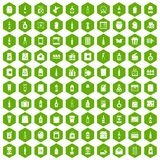 100 packaging icons hexagon green. 100 packaging icons set in green hexagon isolated vector illustration Stock Photos