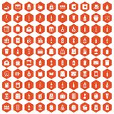100 packaging icons hexagon orange. 100 packaging icons set in orange hexagon isolated vector illustration Royalty Free Stock Images