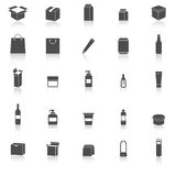 Packaging icons with reflect on white background Stock Photo