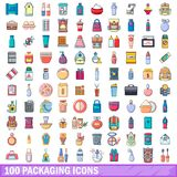 100 packaging icons set, cartoon style. 100 packaging icons set. Cartoon illustration of 100 packaging vector icons isolated on white background Royalty Free Stock Images